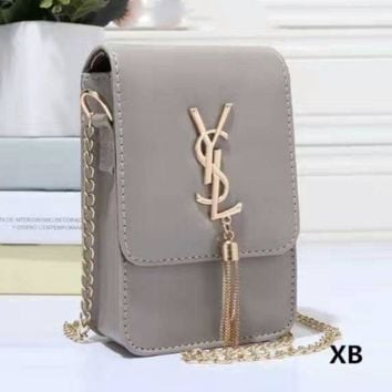 Kalete YSL Women Tassel Square Shopping Leather Metal Chain Crossbody Satchel Shoulder Bag
