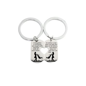 Solid Stainless Steel Heart Cutout Inspirational Keychain Set By Pink Box