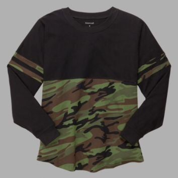 Camo and Black Jersey Shirt - Gym Wear - To and From - Womens Fitness - Ruffles with love - RWL