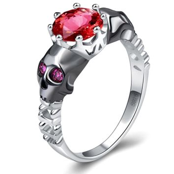 Skull Ring Sets Rhodium Plated big clear cz crystal Women's Wedding promise Ring Punk Female Finger ring Jewelry
