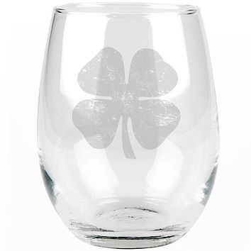 St Patrick's Day Distressed Shamrock Etched Stemless Wine Glass