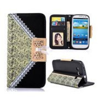 Printing Lace Flower Pattern Wallet Style Magnetic Flip Stand TPU+ PU Leather Case for Samsung Galaxy S3 I9300 with a Chain (Black)