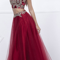 Burgundy/Gold Embellished Halter Two-Piece Prom Dress Long