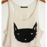 Fuzzy Kitty Cropped Shirt