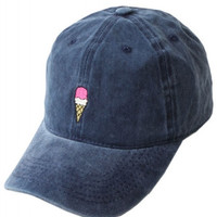 Ice Cream Embroidered Weekend Baseball Hat - Blue