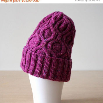 Wool beanie, Donegal hat, Merino wool beanie, Cable knit hat, Purple hat, Cable knit hat, Women's beanie, Cuffed beanie