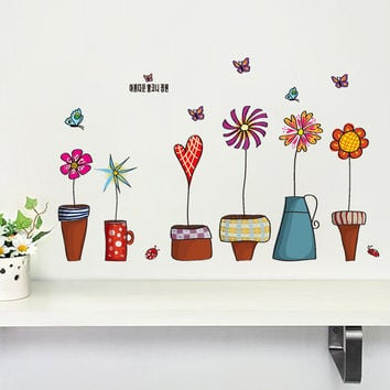 flowerpot butterfly wall cover stickers house decoration 947 diy print mural art plant home decals kids gift living bed playroom