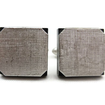 Swank Cufflinks - Mid Century Modern, Onyx Glass, Textured Silver, Vintage Mens Accessories, 1960s, For Him