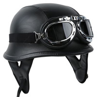 German Style Leather Motorcycle Half Helmet With Goggles
