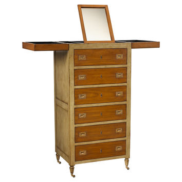 French Heritage, Tall Makeup Chest, Gray/Light Cherry, Vanities & Dressing Tables