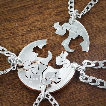 4 BFF Squirrel Necklaces, Family Squirrel Squad Coin Gift by Namecoins