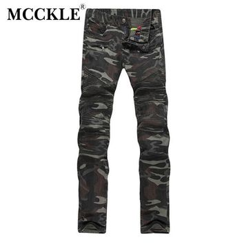 MCCKLE New Mens Camouflage Jeans Motorcycle Camo Military Slim Fit Famous Designer Biker Jeans With Zippers Men AY971