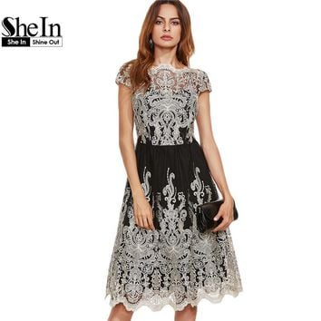 SheIn Party Dresses Color Block Black Champagne Contrast Fit And Flare Embroidered Cap Sleeve Knee Length Mesh Elegant Dress