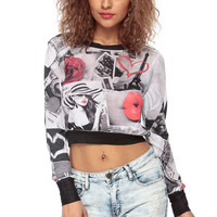 Paris Love Collage Crop Top