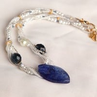 Handmade Twisted Sapphire Blue Bridal Choker  GP | peaceloveandallthingsjewelry - Wedding on ArtFire
