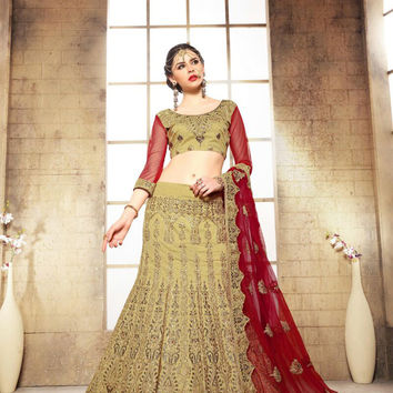 Women's Dupioni Raw Silk Fabric & Brown Color Pretty A Line Lehenga Style