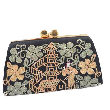 Vintage Embroidered Asian Motif Evening Bag