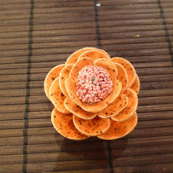 Orange rose incense burner with brown spots and pink center (made to order)