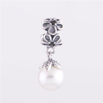 Bead Fits Pandora Original Charm Bracelet 925 Sterling Silver Beads Dangle White Pearl Pendant European Charm Women DIY Jewelry