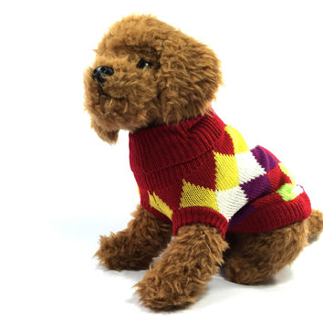 Rainbow Argyle Dog Sweater