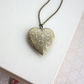 Large Gold Floral Heart Locket Pendant Necklace. Vintage Inspired, Romantic Valentines Day Gift Long Necklace
