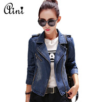 New Sutumn Korean Style Long Sleeve Fashion Denim Jacket Jeans Jacket Women Oversized Jean Jacket Jaqueta Jeans Feminina