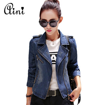 New Spring Korean Style Long Sleeve Fashion Denim Jacket Jeans Jacket Women Basic Jean Jacket Jaqueta Jeans Feminina S M L