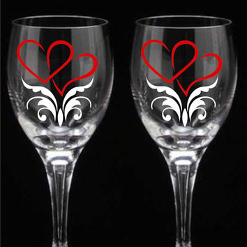 Double Heart Wine Glasses Flutes or Tumblers Wedding Valentine Day Anniversary Gift