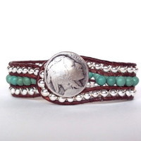 Boho Leather Wrap Bracelet Cuff Chan Luu Turquoise Silver Buffalo Nickel