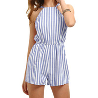 2017 sexy rompers womens summer jumpsuit High Waist Gorgeous multi stripe backless Playsuit Shorts jumpsuits plus size R2