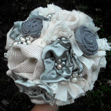 """Wedding Bouquet, Fabric Flower, Bridesmaid, Bridal, Rustic, Burlap, Country, Vintage, Wedding, Shabby Chic, Lace Rosettes Pearls 6"""""""