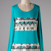 Tribal Sequined Knit Top - Jade