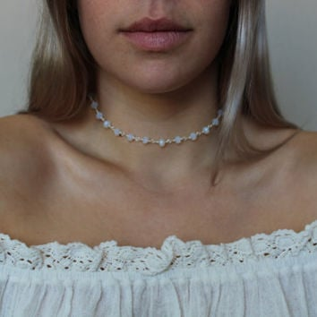 HANNAH || Opal Rosary Choker Necklace with Gold or Silver Plated Wire and Findings- Opal Rosary Chain- Opal Jewelry- layering- statement
