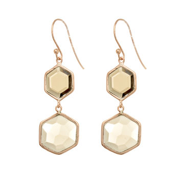 Double Drop Smokey Quartz Hexagons Earrings Set In Rose Gold Plated Sterling Silver