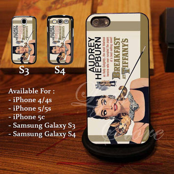 Audrey Hepburn Breakfast Tiffany Design for iPhone 4, iPhone 4s, iPhone 5, Samsung Galaxy S3, Samsung Galaxy S4 Case