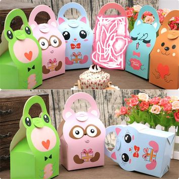 24pcs Baby Shower Favor Boxes and Bags Animals design Candy Box for girl boy Kids Birthday Party gift candy box paper treat box