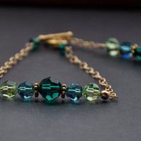 Emerald Green Bracelet, Indicolite Blue, Peridot, Gold Crystal Jewelry