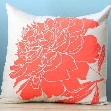 Peony Flower Linen Pillow Cover Decorative Cushion Throw 20x20 Coral Orange Hand-Painted, Printed Silk Screen Pillow Art