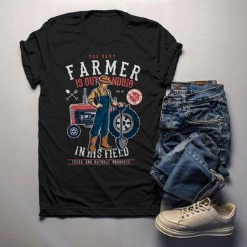 Men's Funny Farmer Shirt Best In Field TShirt Farming Gift Idea Vintage Farming Graphic Tee