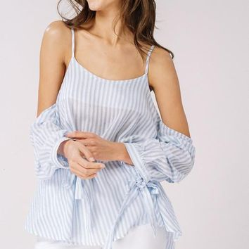 Nantucket Striped Cold Shoulder Top