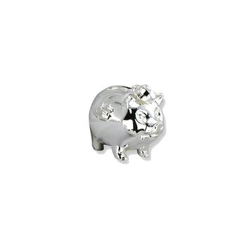 Pig Wearing Cowboy Hat Silver-plated Polished Metal Bank -Engravable Gift Item