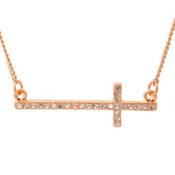 Lucid Sideways Crystal Cross Necklace