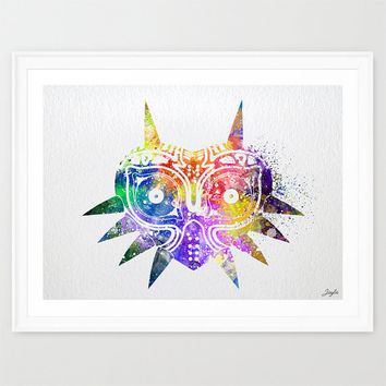 Majora's Mask inspired Legend of Zelda Watercolor Art Print,Wall Art Hanging,Home Decor,Boys Room Art,Motivational,Inspirational Art, #298