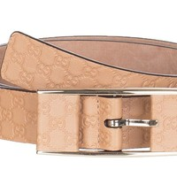 Gucci Women's Beige Thin GG Microguccissima Covered Buckle Leather Belt