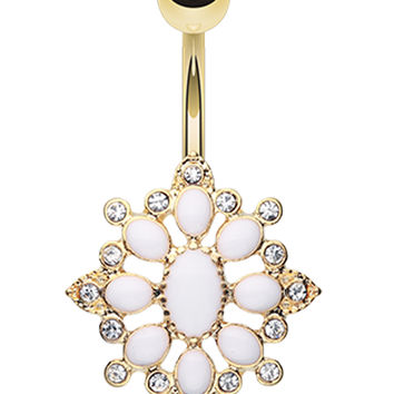 Golden Colored Roesia Ornate Multi-Glass-Gem Belly Button Ring