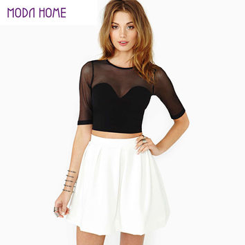 Top Quality Hot Sexy Women Crop Top Mesh Cutout Sweetheart Neckline Tops Ladies Short Sleeve Tops Black Shirt
