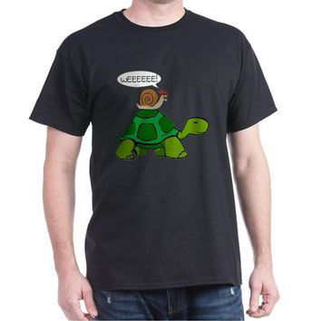 Snail on Turtle Dark T-Shirt