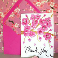 Pink Cherry Blossom Thank You Watercolor and Calligraphy Cards Set of 5