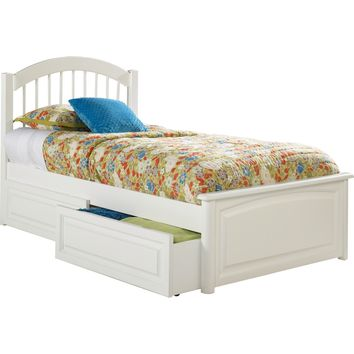 Windsor Full Bed Raised Panel Footboard Raised Panel Under Bed Drawers White Finish
