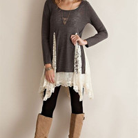 Lace Panel Tunic Top - Charcoal